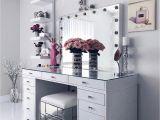 Slaystation Vanity Table top White Clean Sleek Vanity Decor Paintings Flowers Glass