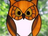 Stained Glass Owl Patterns Stained Glass Golden Owl with Golden Eyes Suncatcher