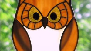 Stained Glass Patterns for Owls Stained Glass Golden Owl with Golden Eyes Suncatcher
