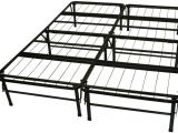 Sturdy Bed Frame for Active Couple Black Steel Bed Frame with Twelve Legs Also Bars On the