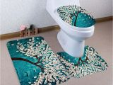 Trr toilet Ring Remover 3pcs Set Bathroom Non Slip Mat Flannel Pedestal Rug toilet Cover