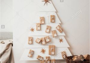 Unfinished Wooden Advent Calendar Drawers Christmas Tree Made Stars Stock Photos Christmas Tree Made Stars