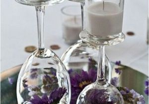 Upside Down Wine Glass Centerpiece Upside Down Wine Glasses with Flowers and Candles