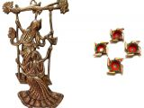 Wall Mounted Shoe Shine Stand Mable Metal Wall Hanging Radha Krishna with Jhoola In Copper Polish