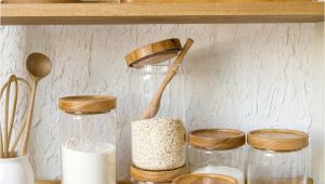 Weck Jars with Wooden Lids Japan Zakka Style Glass Spice Jar Kitchen Canisters Cookie Jars