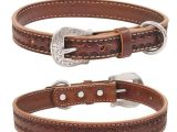Western tooled Leather Dog Collars Weaver Hand tooled Western Style Leather Dog Collar Lead