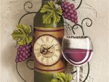 Wine and Grape Kitchen Decor Ideas Wine Bottle Wall Clock Grapes Vino Country Kitchen Bar