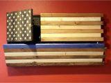 Wooden American Flag Gun Holder Rustic Thin Wall Closet Carrier Roselawnlutheran