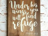 Wooden Bible Verse Signs Uk Scripture Sign Under His Wings Wood Signs by Countrypallets