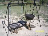 Wrought Iron Campfire Cooking Equipment Quadpod Dutch Oven and Grill Cook Set